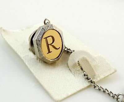 Vintage Tie Tack Tac Lapel Pin Letter J Initial Personalized Two Tone