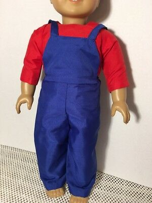 "Plumber Builder Costume Fits 15/"" Bitty Baby Twins Doll Clothes Romper Top Hat"