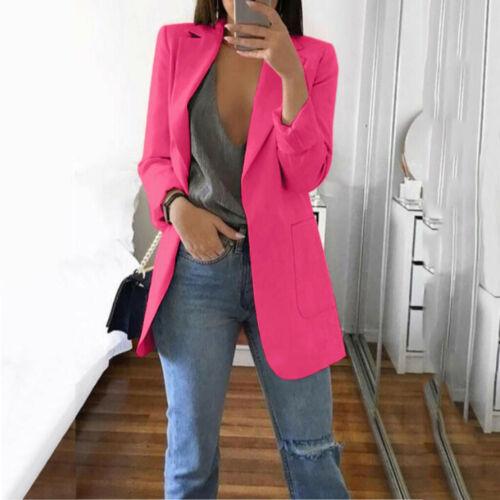 Women Autumn Solid Long Sleeve Turn-down Collar Coat Cardigans Suit Long Jacket