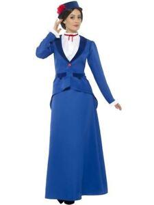 Blue-Maid-Nanny-Victorian-Dress-Jacket-Hat-Costume-Fancy-Dress-Play-Book-Week