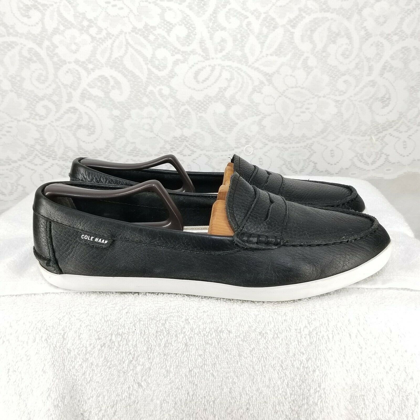B61 Cole Haan Lunar Grand Black Leather Penny Loafers Women's Sz 10B