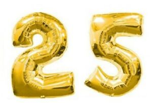 Image Is Loading 40 034 Large 25 Gold Number Balloons 25th
