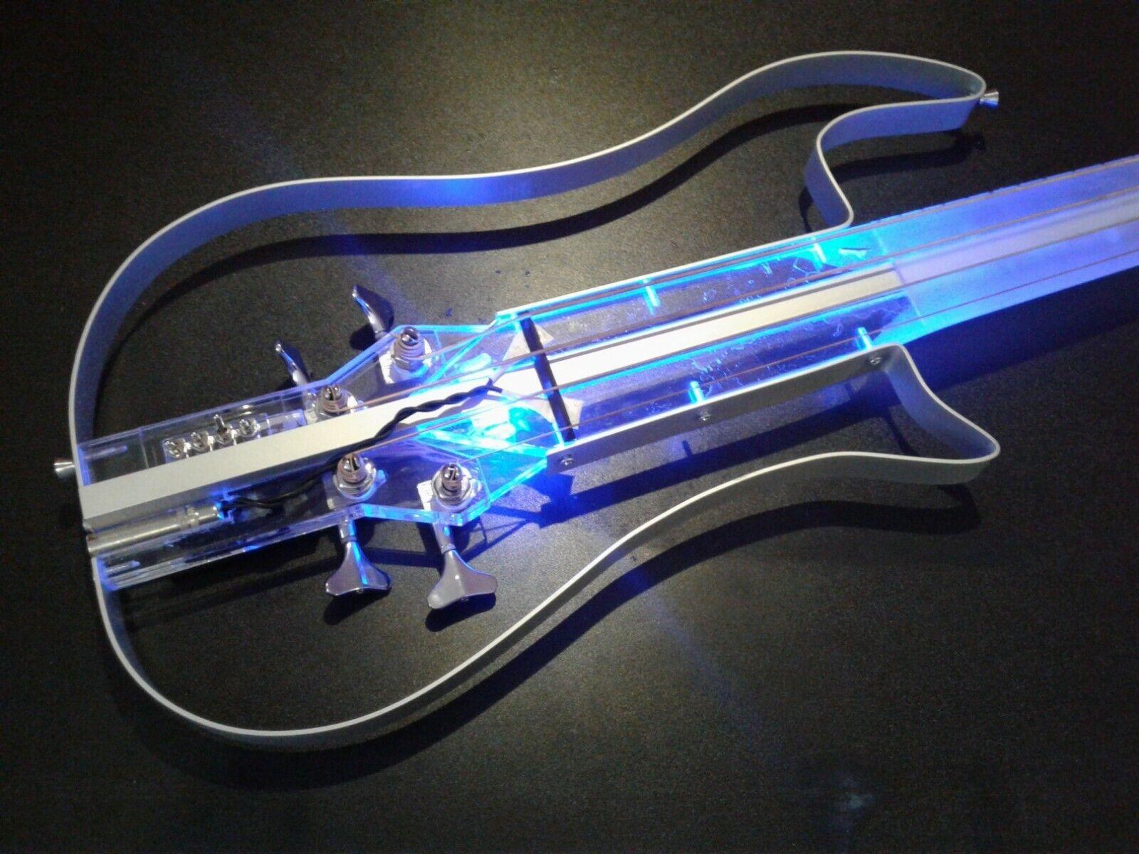 NEW Equester fretless acrylic silent bass guitar, handmade, short scale,headless