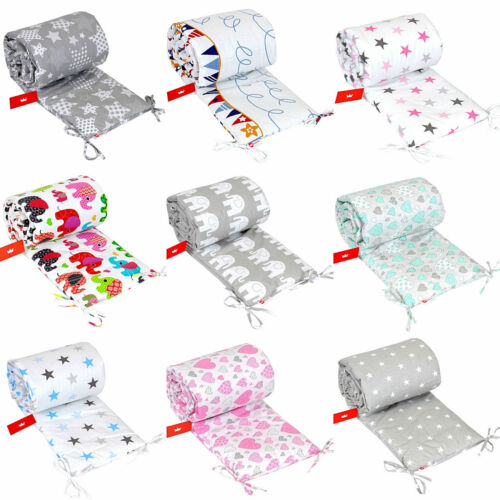 PADDED //size 180x30cm //Nursery Bumper BUMPER FOR COT 100/% COTTON