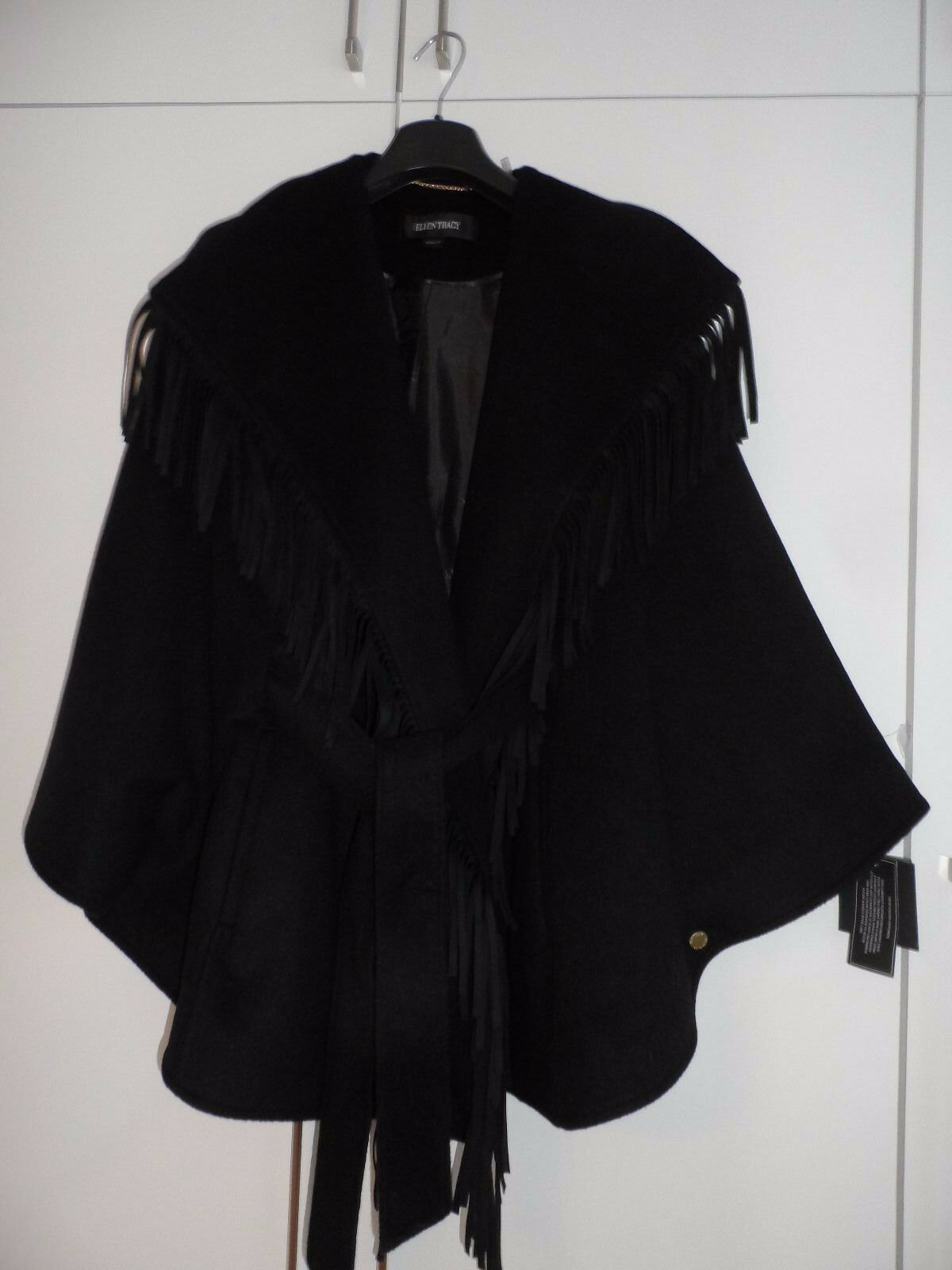 RELEN TRACY Fringae Belted Cape