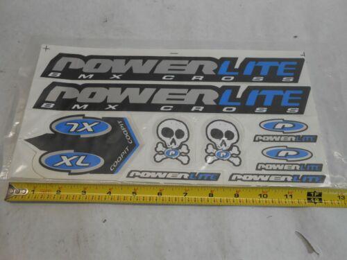 Powerlite BMX Bike Bicycles Decals Set  9 Sticker Blue Silver Black