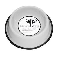 Platinum Pets 2 Cup Non-embossed Non-tip Dog Bowl, White, New, Free Shipping