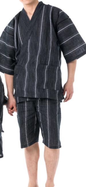 Japanese JINBEI Men's Summer Kimono wear Topps Half Pants from JAPAN #4 Black