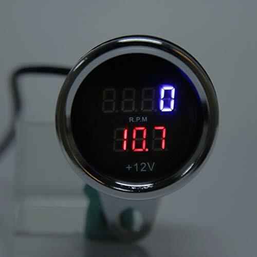 Yctze 2 in 1 Motorrad Drehzahlmesser Universal Metall LED Digital Voltmeter D...