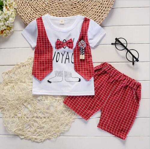 Baby Boys 2019 Clothing Set Summer Short Sleeve Plaids T-shirt Shorts Kids Suit