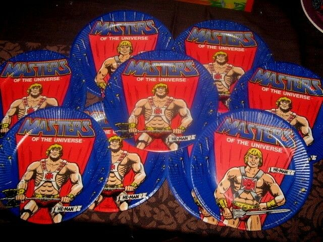 VINTAGE RARE LOT MASTERS OF THE UNIVERSE HE MAN PAPER PARTY DISHES MATTEL 1983
