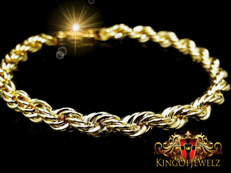 10K Authentic Real gold Women's Rope Twister Bracelet 8 Inch 2.5 mm 1.50 Gram