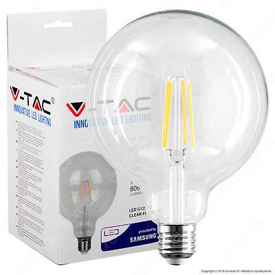 1 LAMPADINA LED V-TAC PRO E27 Globo G95 6W Filamento Chip Samsung Vtac 2700K