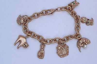 Cat Charm Bracelet 14Kt Gold on Copper Made in Italy