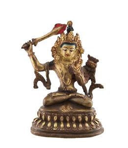 Soprammobile-Tibetano-Manjushri-10-5-CM-IN-Rame-E-Doratura-Nepal-AFR9-7049