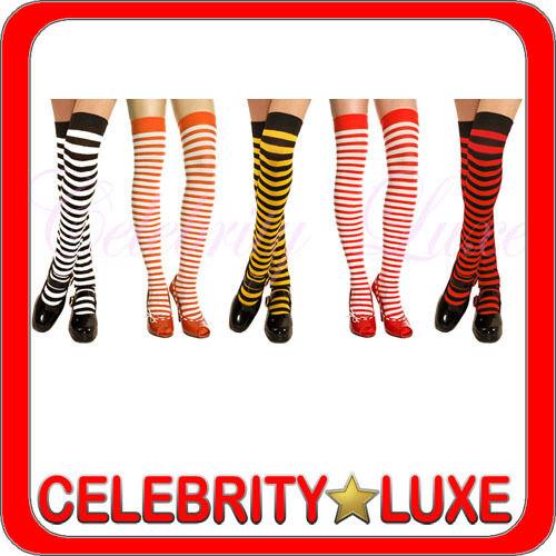 New Ladies Striped Stockings Socks Thigh High Black White Red