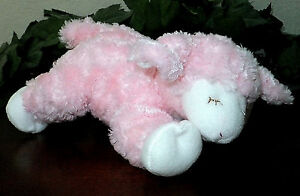 Baby Gund Lamb WINKY Rattle Pink Sleeping Sheep Stuffed Plush Animal Lovey 8""