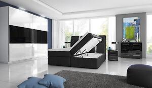 Details zu Komplett Hochglanz-Schlafzimmer Boxspringbett mit zwei  Bettkästen weiß / schwarz