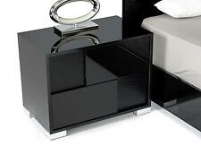 VIG Modrest Ancona Black Gloss Crocodile Accent Left Nightstand Made In Italy