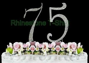 Image Is Loading NEW Silver Large Rhinestone NUMBER 75 Cake Topper