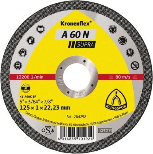 Klingspor Trennscheibe A60 N Supra 115x1x22mm oder 125x1x22mm Aluminium Flex