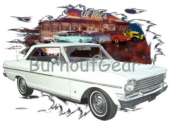 1963 Weiß Chevy Nova a Custom Hot Rod Diner T-Shirt 63 Muscle Car Tees