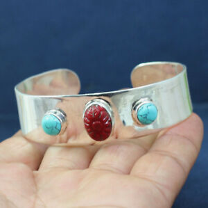 925-STERLING-SILVER-JEWELRY-CORAL-TURQUOISE-GEMSTONE-GIFT-CUFF-BRACELET-KB1012