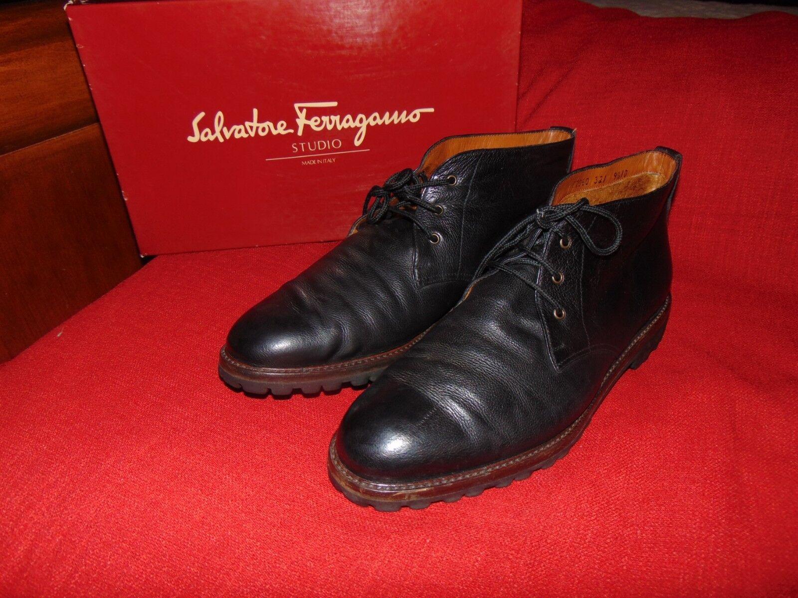SALVATORE FERRAGAMO Torino Sherpa-Lined Black textured Leather Lug Sole Boot 9.5