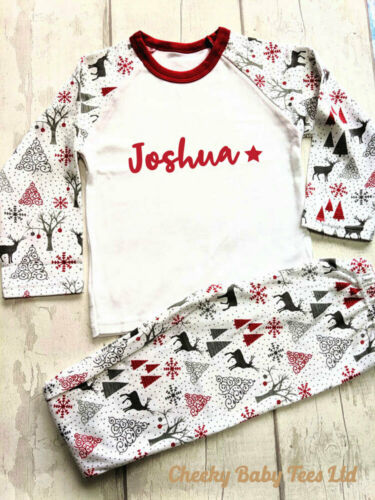 Boy//Girl Personalised children/'s Christmas pyjamas PJs,Any name,3-4 and 4-5 yrs