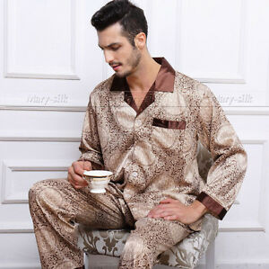 Mens Silk Satin Pajamas Pyjamas Sets Sleepwear  Loungewear  S M L XL 3XL 4XLT