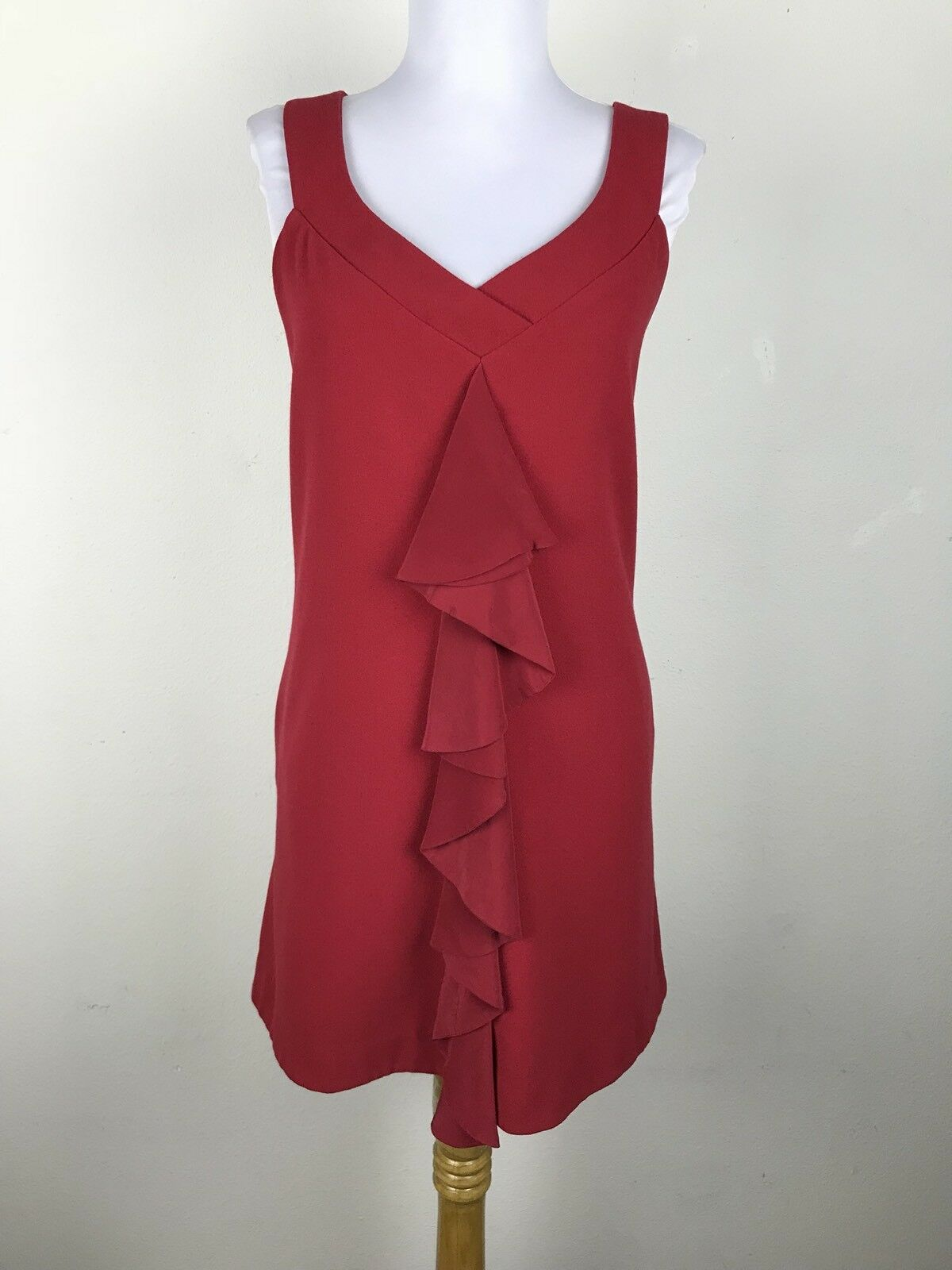 schwarz Halo Dress Größe 10 rot Sleeveless Ruffled Pockets V Neck Shift Cocktail