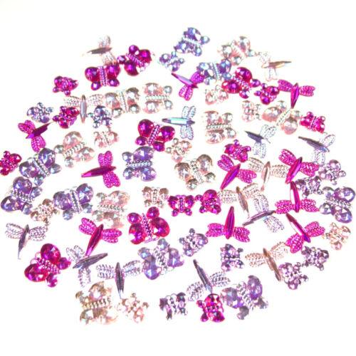 Schmetterlinge Libellen 9g 6-16mm pink violett rosa Acryl-Strass-Steine