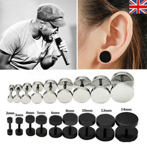 Image Is Loading Mens Ear Stud Earring Gothic Punk Black Cool