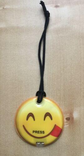 Hanger Magnetic Smiley Face Emoji 2 LED Flat Torch Flashlight on Wrist Strap