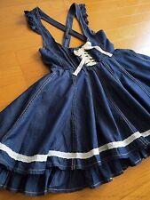 LIZ LISA Denim Lace-up Flare Jumper Dress JSK Hime Gyaru Lolita Kawaii Japan