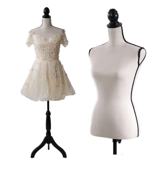 Black Female Mannequin Torso Body Dress Form with Black Adjustable Tripod Stand for Clothing Dress Jewelry Display