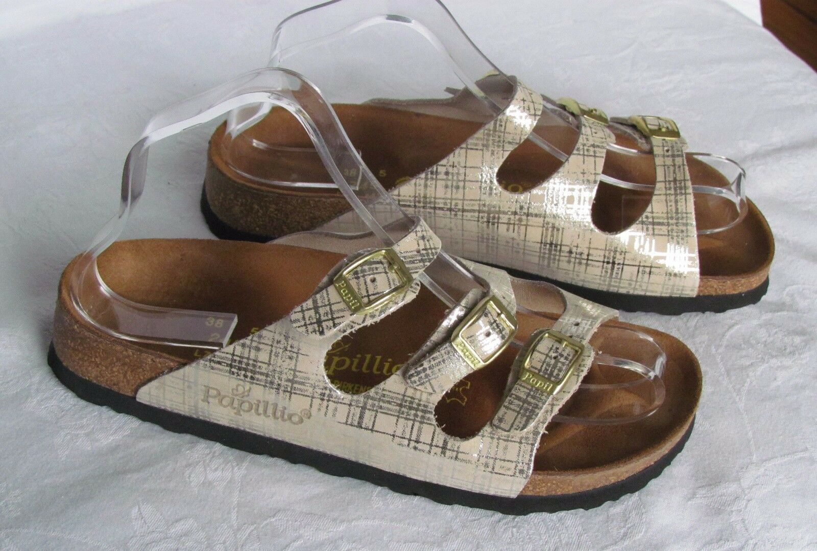 Último gran descuento NEW Papillio By Birkenstock Ladies Florida Gold Cream Patent Sandals Size 5 38