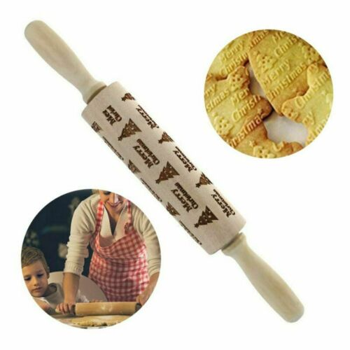 Wooden Rolling Pin Embossing Baking Cookies Noodle Biscuit Fondant Christmas Elk