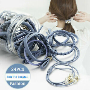 24Pcs-Women-Girls-Elastic-Hair-Ties-Band-Ropes-Ring-Ponytail-Holder-Accessories