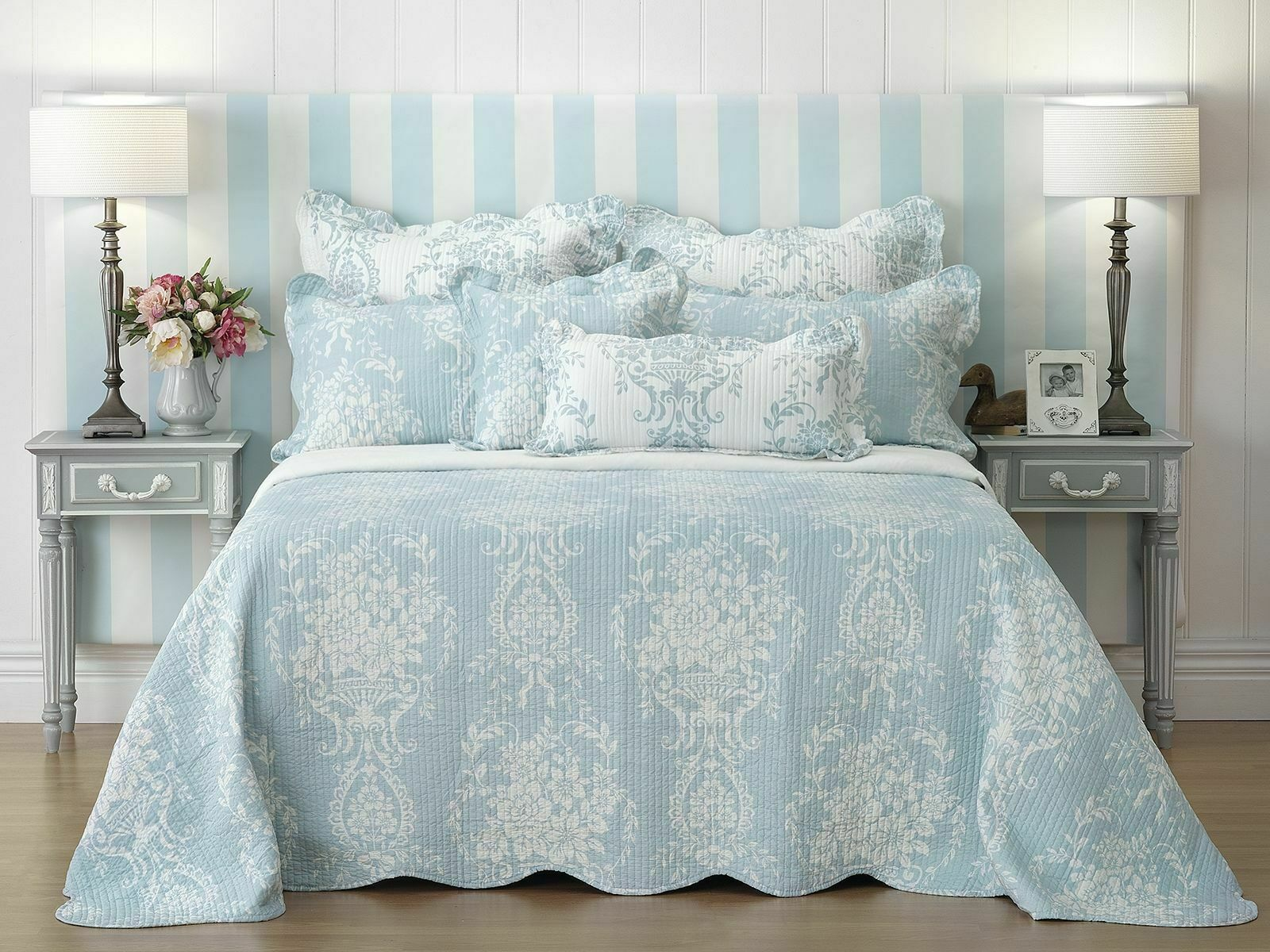 Bianca Florence blu Bedspread Set in All Dimensiones