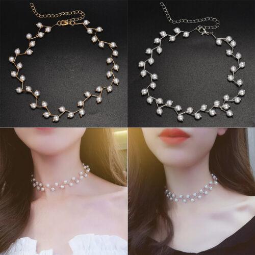 Elegant Women Clavicle Chain Charm Pearl Bead Necklace Choker Wedding Jewelry