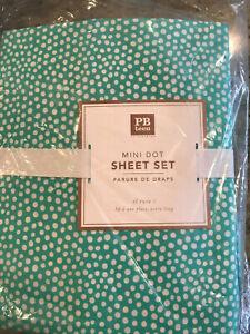Pottery Barn Teen Mini Dot Twin Sheet Set Pool Blue New 3