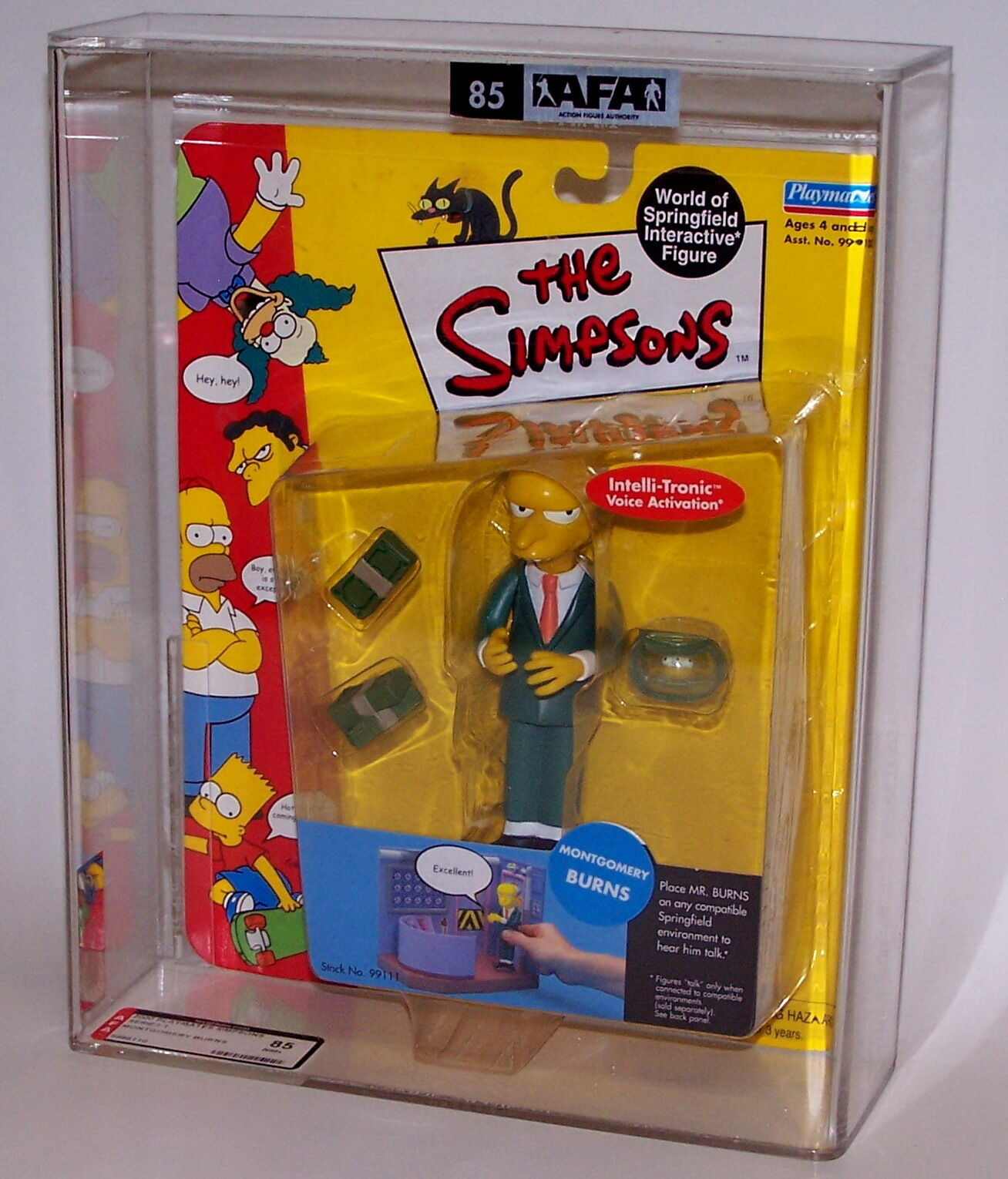 The Simpsons Montgomery Burns Action Figure Playmates AFA Graded 85 NM+ 2000