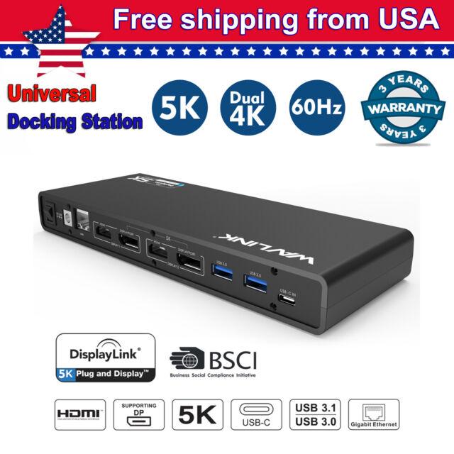 Wavlink Universal USB 3.0 Docking Station USB C Dual 4K 5K HDMI Gigabit for PC