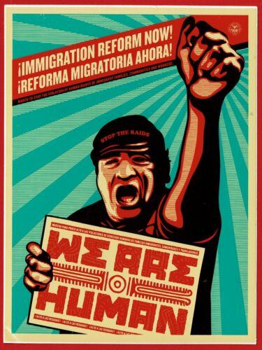 OBEY Mint Immigration reform Vinyl Sticker  lg 6 x 4.5 ins  SHEPARD FAIREY