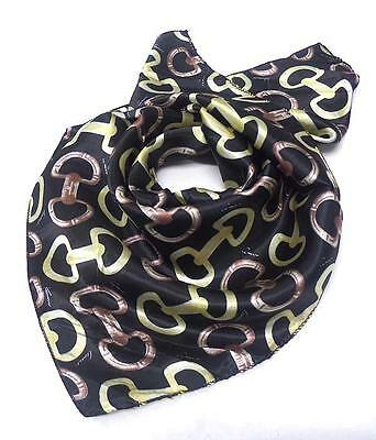 E2 Petite Small Square SCARF Chain Link Pattern Black Brown Silk NEW
