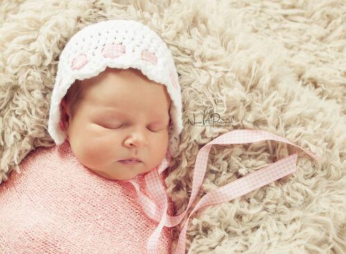 Hand Crochet Knitted Baby Hat Bonnet Photo Prop Girl Newborn-6M White /& Pink