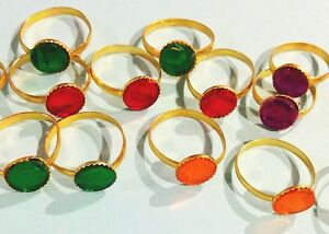 Gem-Rings-Lot-of-20-Colorful-Jewelry-Kid-039-s-Children-039-s-Birthday-Toy-Trinket-STONE