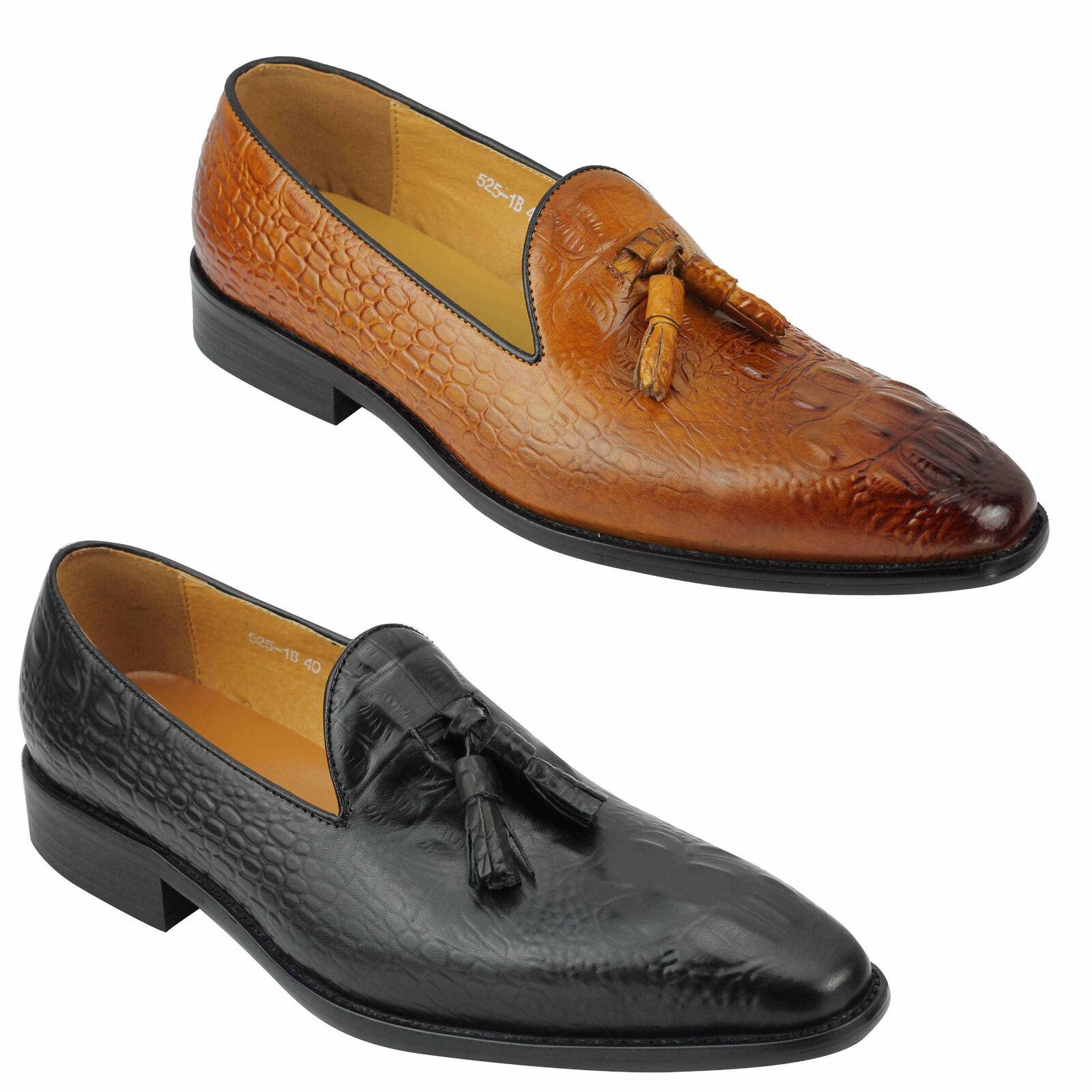 Nuevo Hombres Bronceado Negro Cuero real Piel de serpiente Aspecto Borla Mocasines zapatos 6 7 8 9 10 11