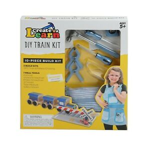 Create & Learn Kids DIY Train Project Kit with Real Tools & Conductors Apron